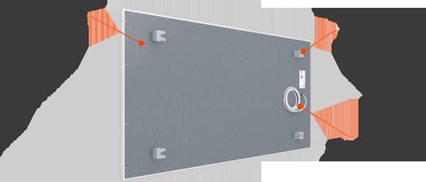 infratopení heatwell FL bílý, bezrámový popis konstrukce, zadní strana